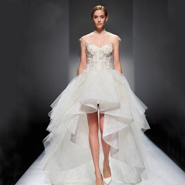 2015 nuevo diseño de vestidos de novia corto por delante y largo en