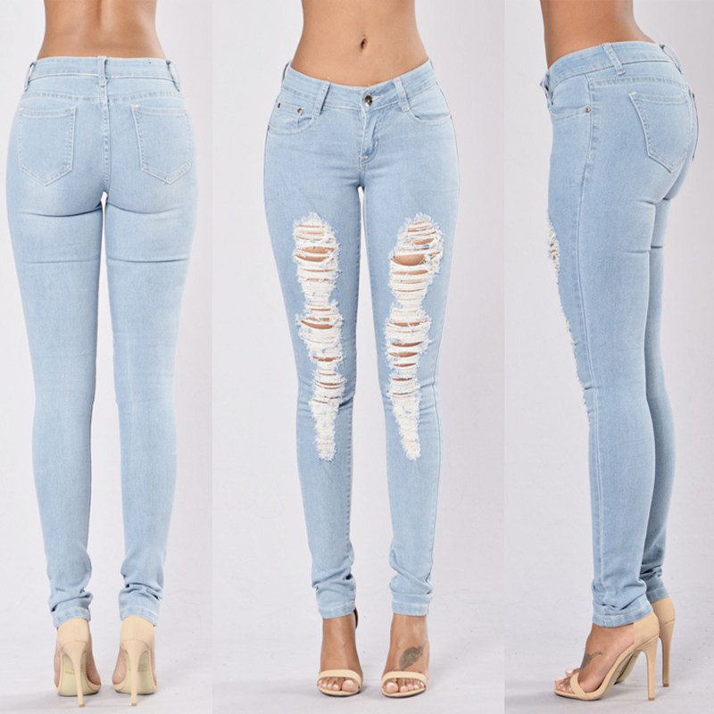 New 2016 Skinny   Jeans   Women Denim Pants Holes Destroyed Knee Pencil Pants Casual Trousers Light blue Stretch Ripped   Jeans