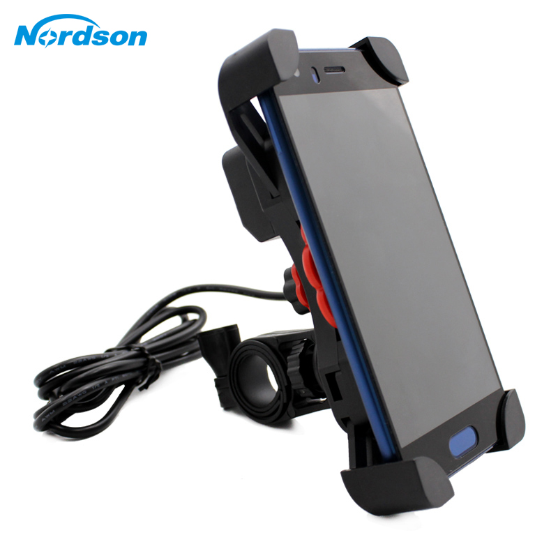 Nordson Universal Dual USB Motorcycle Charger Phone Holder Waterproof 12V Moto Motocross Bike Mobile Phone Mount Handlebar Stand