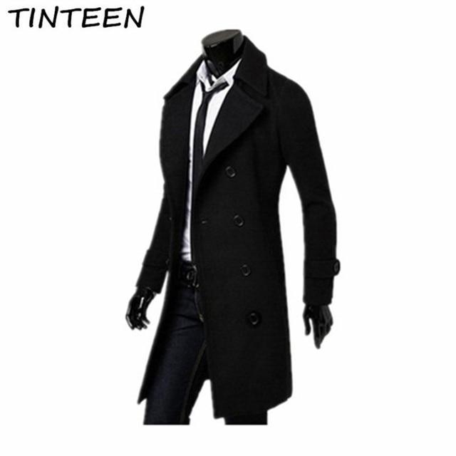 804aa8fff11 TINTEEN Mens Trench Coat 2018 New Fashion Designer Men Long Coat Autumn  Winter Windproof Slim Trench Coat Men Plus Size HXH95