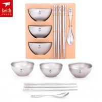 Keith Titanium Tableware Chopsticks Spoon Dinnerware Family Pack Double layer Anti hot Insulation Bowl Family Bowl Set Ti5803