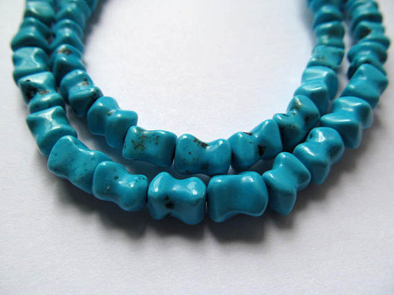 FREE SHIP handmade high quality turquoise semi precious infinite bar carved blue jewelry beads 8x8mm 2strands 16inch/per stran