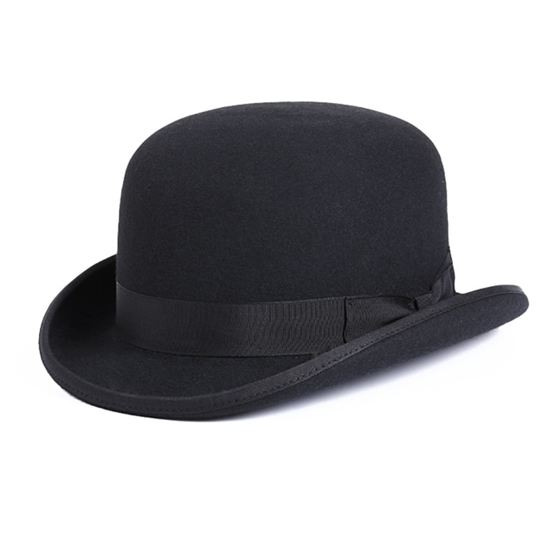 LIHUA Brand Party Fashion Bowler Hat 100% wool fedora trilby hats for men  derby felt billycock ... deaf64ae8a0d