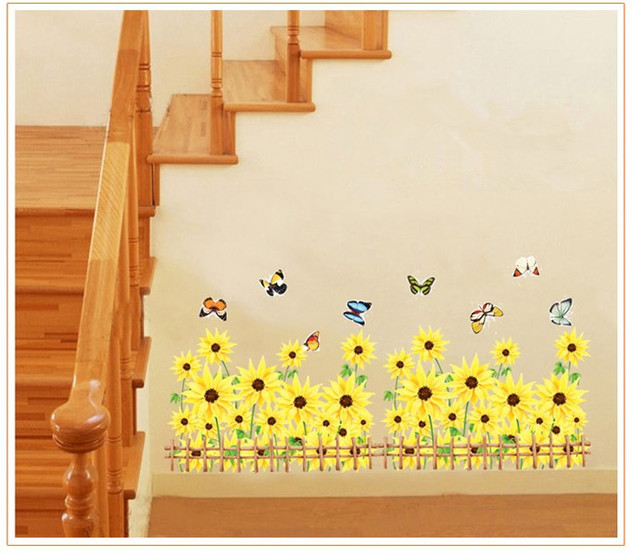 vintage sunflower painting wall art decal quotes princess bathroom ...