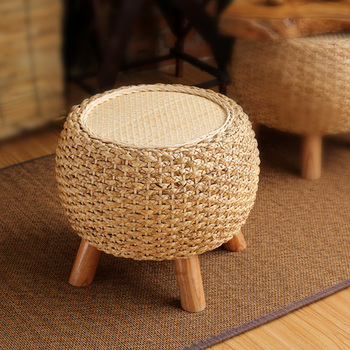 Round Foot Stool Change Shoe Ottoman Wooden 3 Leg Padded Footrest Rattan Dressing Makeup Stool Hallway Living Room Wicker Pouf