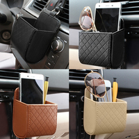 PU Leather Car Outlet Air Vent Trash Box Auto Mobile Phone Holder Bag Pouch Organizer Hanging Box for Car Supplies Car Styling