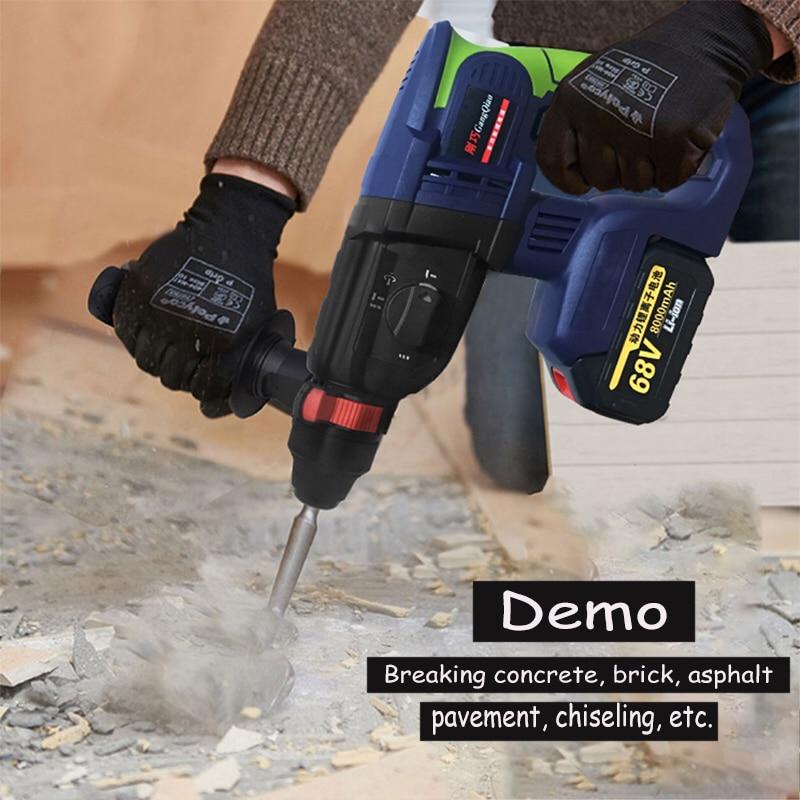 Perceuse à percussion électrique 68 V/88 V marteau rotatif moteur sans brosse tournevis électrique sans fil + marteau électrique et perceuse