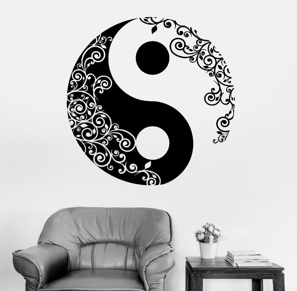 Mandala Sticker Wall Decal Buddha Yin Yang Yoga Lulja Meditim Vinyl Decal Wall Art Mural Dekoratë Shtëpi Dekorimi D175