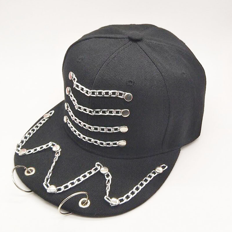 Apparel Accessories Sunny Black Metal Ring Iron Baseball Caps Snapback Adjustable Casual Punk Hats Rock Style Chain Hip Hop Cap Shade Hats