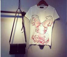 Лето 2015 Сейлор Мун HARAJUKU женская футболка карнавальный костюм Топ Объёмный рисунок (3D-принт) бантом футболка футболки