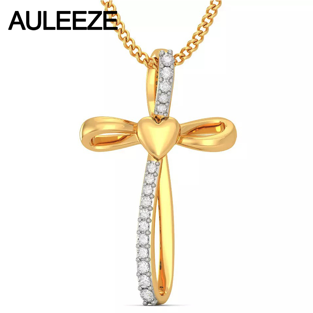 Trendy Cross Necklace For Women Jewelry Solid 14K Yellow Gold Pendant Natural Diamond Necklace Guardian Of Love Heart Design цены онлайн