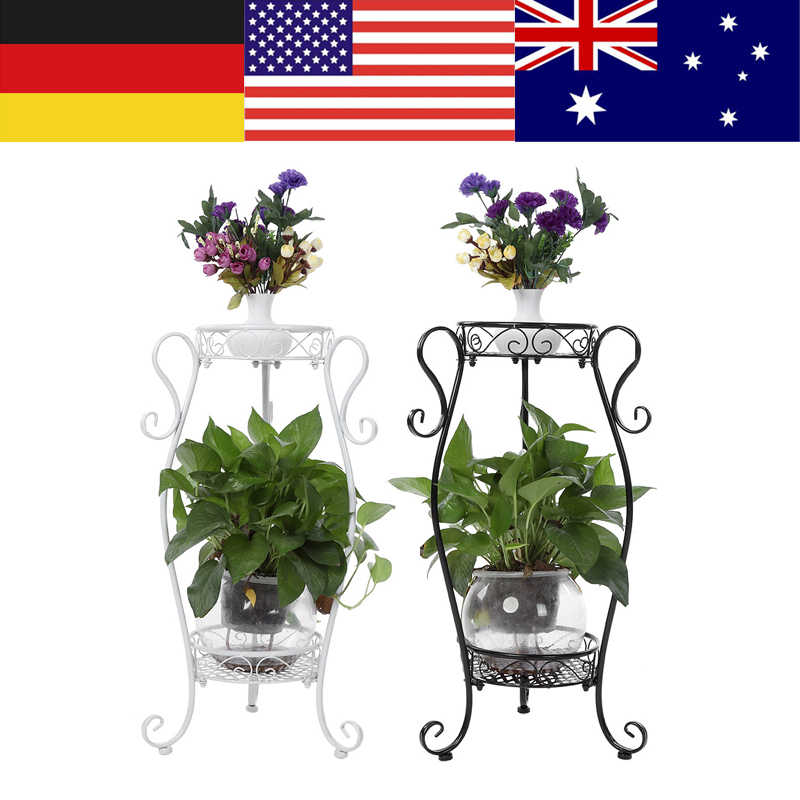 2 Tiers Plant Stand Iron Flower Pot Rack for Indoor Outdoor Balcony Living Room Plant Display Stand