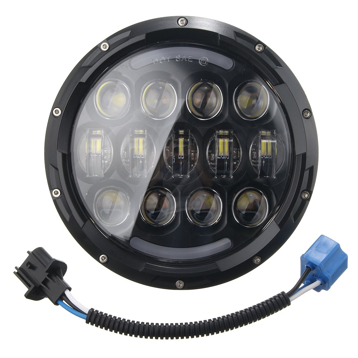 ФОТО 7 Inch 105W Motorcycle LED Headlight Hi/Lo Beam DRL H4 To H13 Plug for Harley-Davidson For Jeep /Wrangler /JK 1997-2016