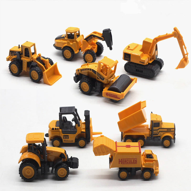 8pcs/set Diecast mini alloy construction vehicle Engineering Car Model Inertia truck mixer excavator Classic Toy Children gift children inertia toy car simulator ladder truck firetruck
