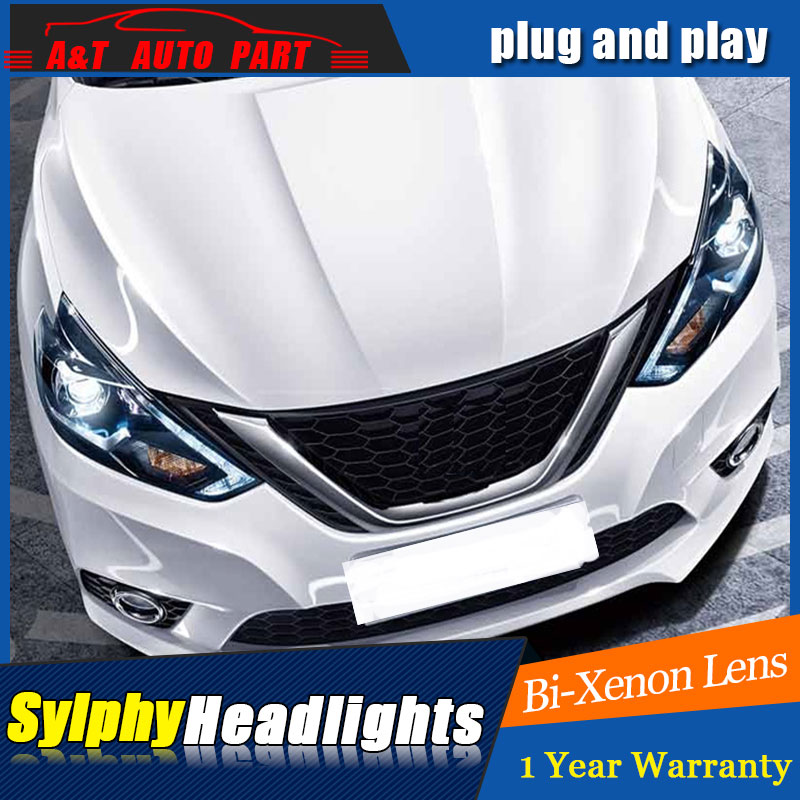 car Styling LED Head Lamp for Nissan Sylphy led headlights 2016-2018 for Sentra drl H7 hid Bi-Xenon Lens angel eye low beam auto part style led head lamp for bmw 5 series led headlights for 520li 525li drl h7 hid bi xenon lens angel eye low beam