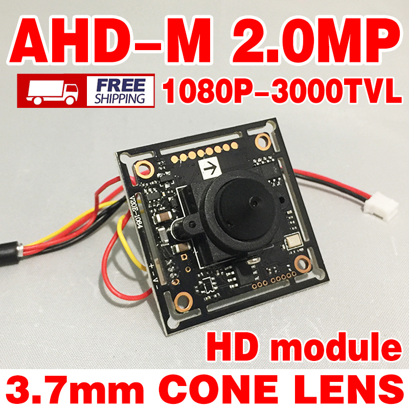 Free shipping 1920*1080p Ahd 200W Mini HD camera chip Monito board module 3.7mm lens pointed cone+Monitoring circuit bnc cable
