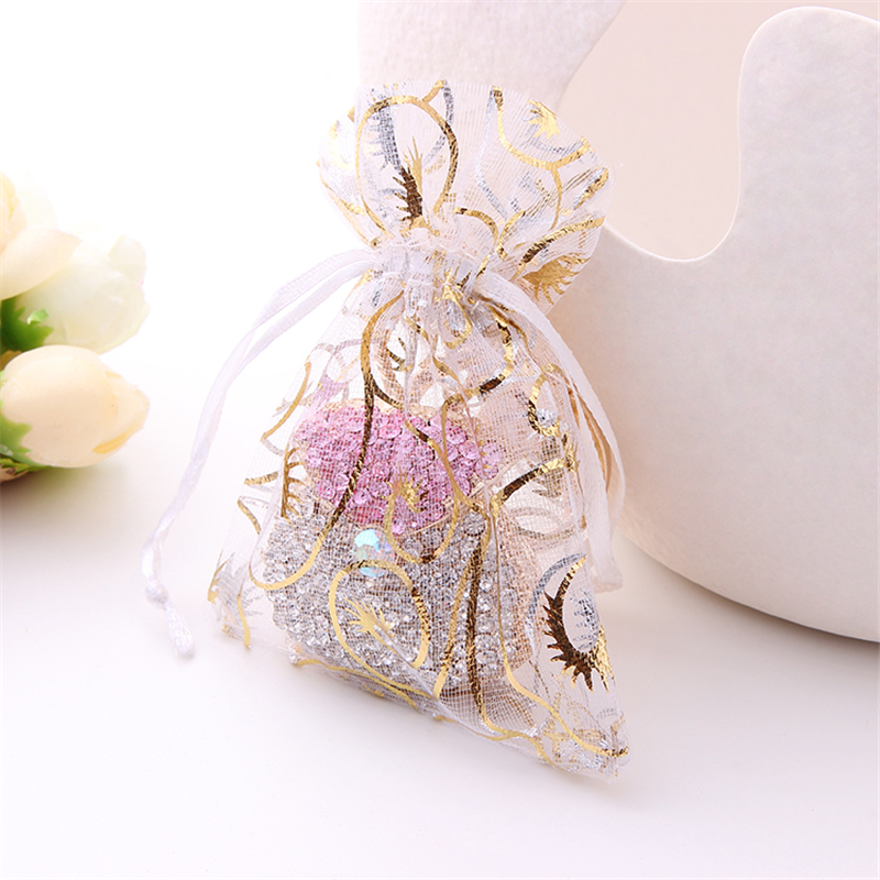 New 50Pcs 7x9cm Tulle Organza Bag Candy Bags Jewelry Pouch Wedding Party Favor Gift Bag Wedding Decoration Mariage Decor.W