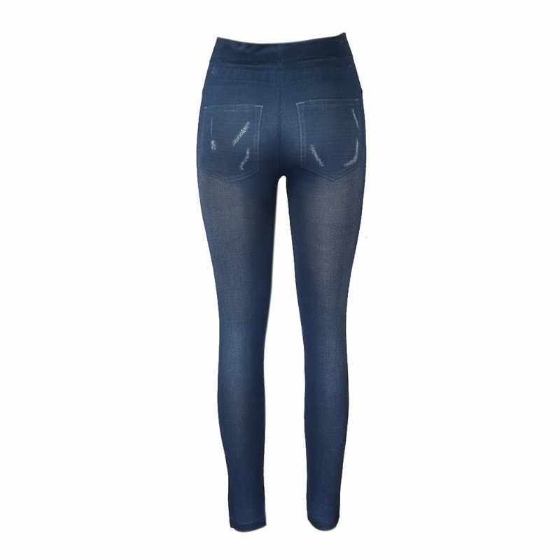 Tinggi Stretch Denim Legging Wanita Geometri Kotak-kotak Celana Legging Jeans Elastis Pensil Celana Wanita \ 'S Pakaian Celana