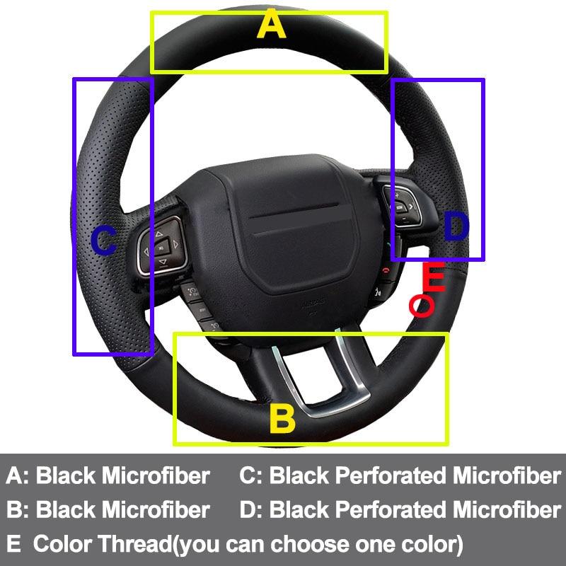 HuiER Hand Sew Car Steering Wheel Cover Microfiber Non-slip For Land Rover Range Rover Evoque 2012 2013 2014 2015 2016 2017 2018
