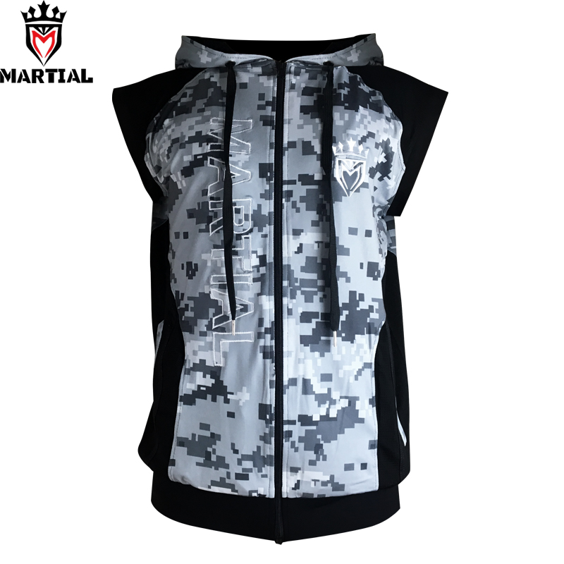 Free shipping Martial :New Arrival Fitness zipper MMA hoodies comfortable mma   sweater crossfit sleeveness  sweatshirts