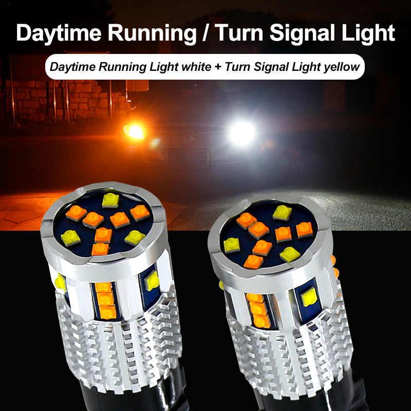 2X Mobil 7443 CANBUS T20 LED Switchback LED Warna Ganda Sinyal Giliran Lampu DRL Bulbsfor Chevrolet MALIBU Buick Opel Astra xt Encore
