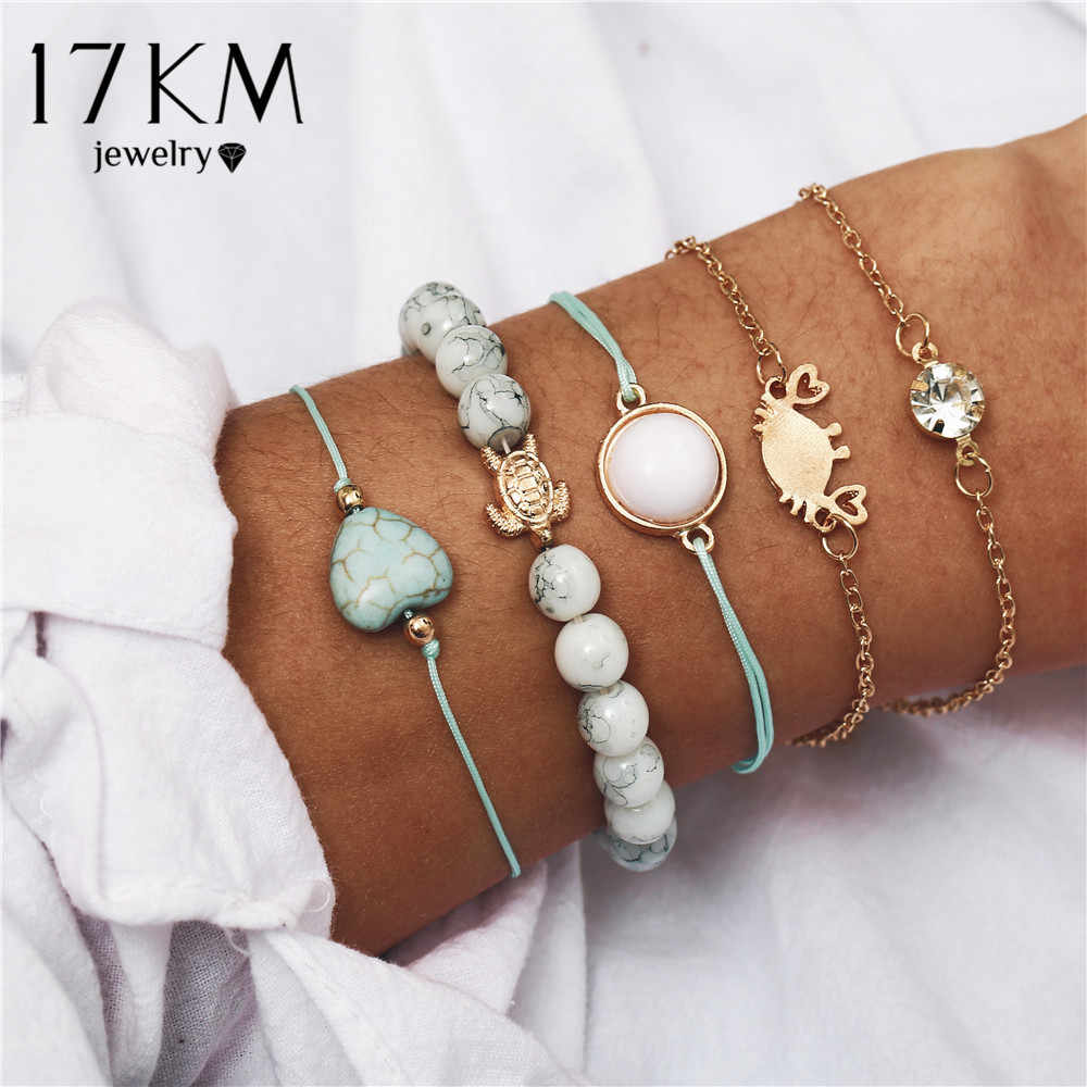 Bohemian Beads Charm Bracelets Set For Women New Fashion Shell Pineapple Map Stone Multilayer Bracelet Female Party Jewelry 2019