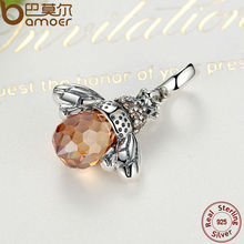 Classic 925 Sterling Silver Orange Wing Animal Bee Pendants