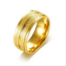 2017 модные полированные золотистые кольца с песчаной поверхностью