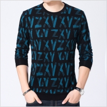 YAXITE Autumn Winter Mens T Shirts Print Black Brand Clothing For Man's Long Sleeve T-Shirts Slim Plus Size Tops Tees 9206