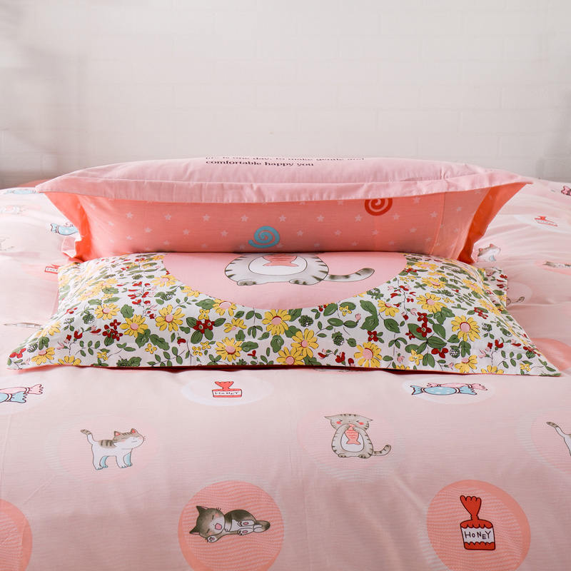 Sweet Candy Cat Bedding Sets 100% Cotton Girl/Teens Bedroom Decor 3d Duvet Cover Full/Queen Size Bedlinen Duck Pillowshams 4/5PC - 3