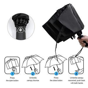 Image 4 - Yesello מתקפל הפוך מטריית גשם נשים גברים גדול Windproof שחור ציפוי שמש מטריות מתנות שמשייה אוטומטית BusinessUmbrla