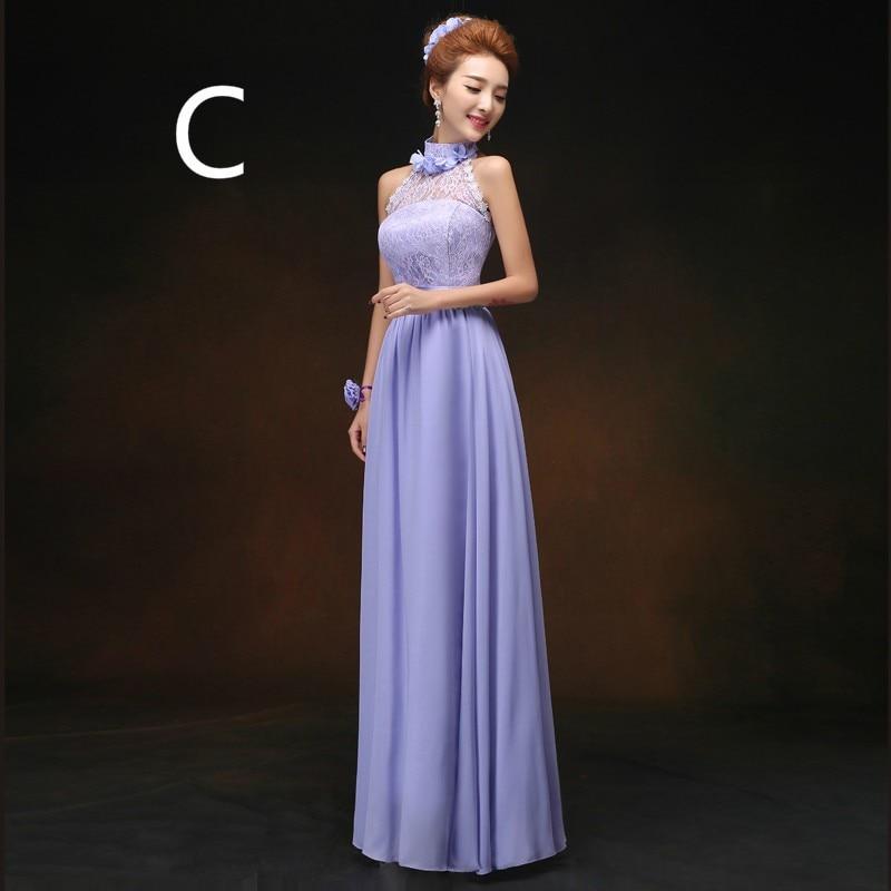 CX SHINE 6 estilo largo de Encaje Vestidos de Dama de gasa azul ...