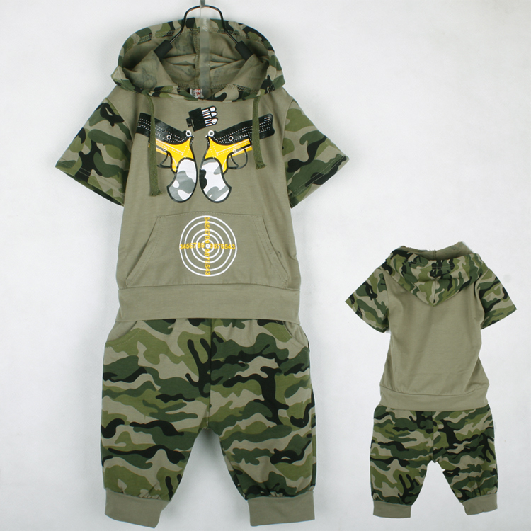 Retail Free Shipping kids boys summer clothes sets boy hooded t shirt  shorts camouflage coat baby boy army combat uniform cotton 3a4d98e1940
