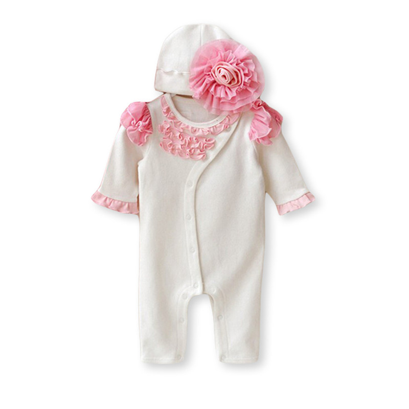 Princess Style Brand Newborn Baby Girl Clothes Long Sleeve Girls Rompers & Hats Cute Suit Flower Infant Jumpsuit Gifts newborn baby rompers baby clothing 100% cotton infant jumpsuit ropa bebe long sleeve girl boys rompers costumes baby romper