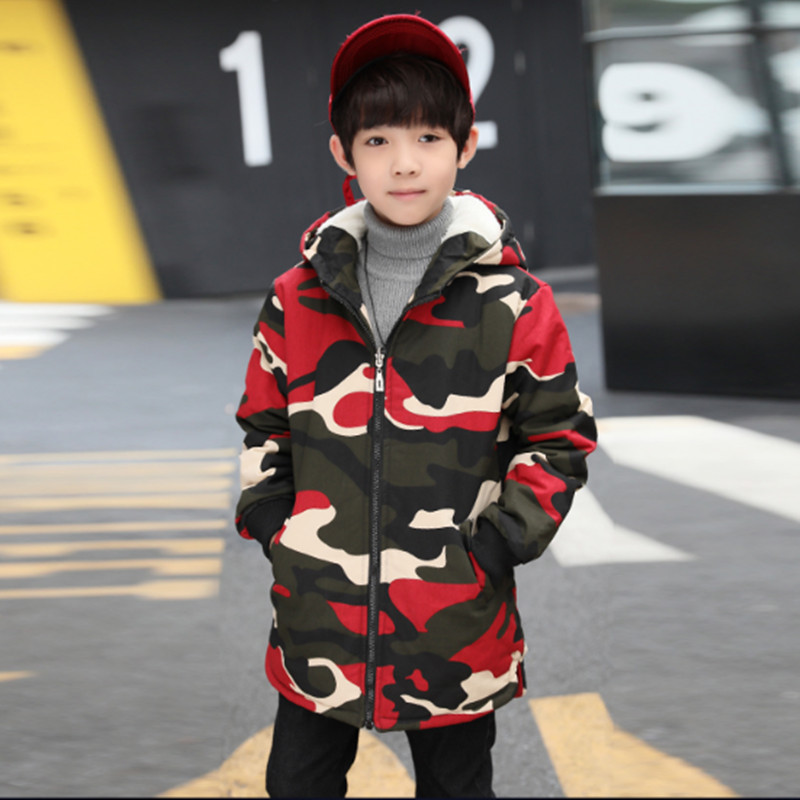 Boys Camouflage Winter Coat Parkas Outerwears Fashion Warm Plus Cotton Plus Velvet Wadded Jackets 120 130 140 150 160 170 цена