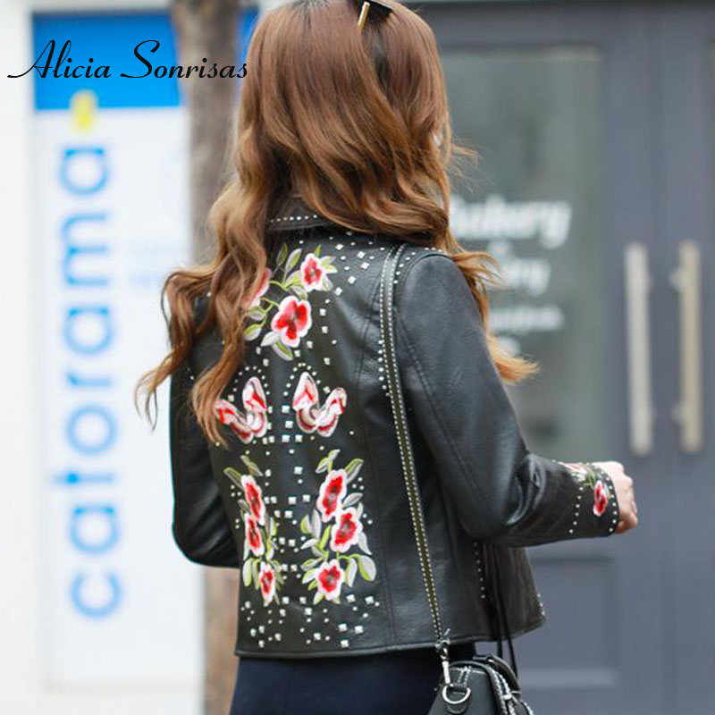Embroidery Leather Jacket Women New 2018 Rivets Punk Studded Leather Coat Motorcycle Biker Short PU Jackets L18BD289 ...