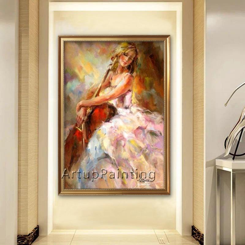 Španělské Flamenco housle dívka olejomalba plátno malba nástěnné malby obrazy pro obývací pokoj domácí výzdoba quadro caudros decoracion