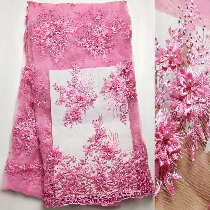 (5yards/pc) fancy embroidered African French net lace fabric in baby pink with beads and stones for graceful dress FGD04