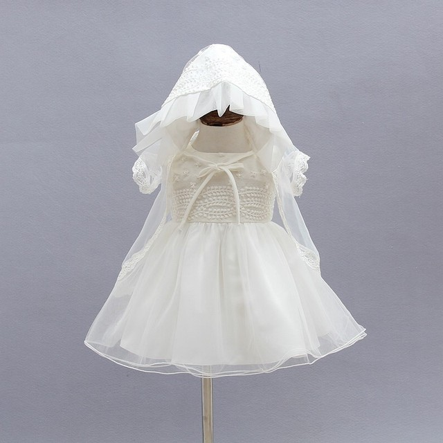 a738b8ad2278 3PCS/Set Newborn Christening Gown Party Wedding Dress with Bonnet and Cape  Elegant Baptism Dresses