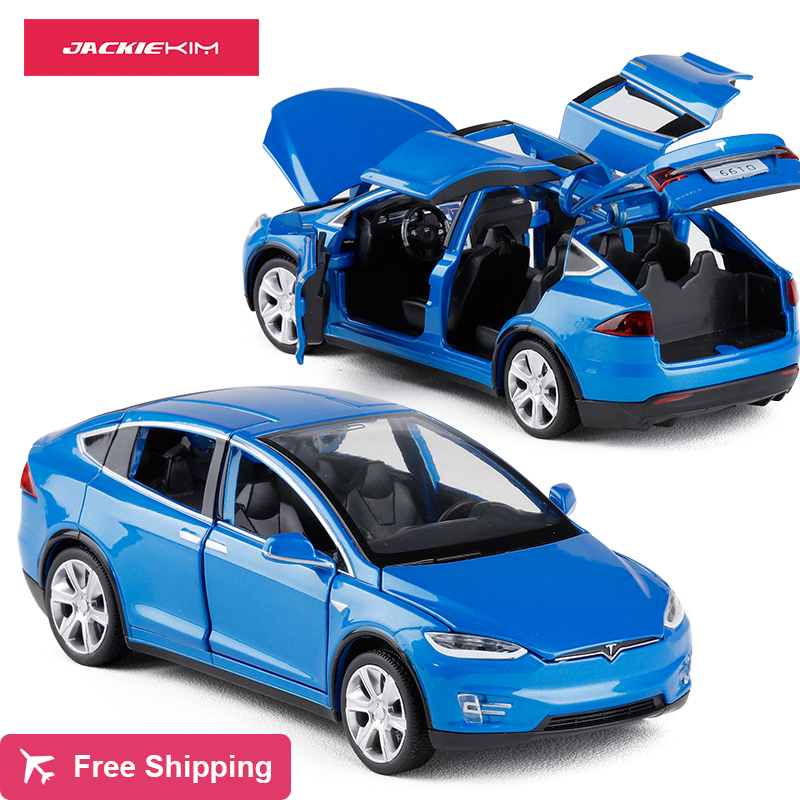 High Simulation 1:32 Alloy Car Model Tesla MODEL X90 Metal Diecasts Toy Vehicles Pull Back Flashing Sound Kids Toy Free Shipping