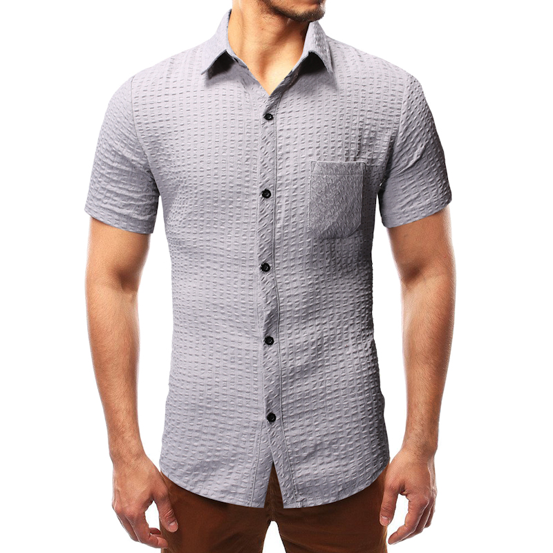 Casual Male Social Shirt Business Thin Short Sleeve Shirts Simple Single-Breasted Men's Blouse Plus Size M-3xl