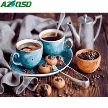 AZQSD Painting By Numbers Coffee Cake DIY Modern Home Wall Art Picture Kits Acrylic Handpainted Oil Painting For Gift 40x50(China)