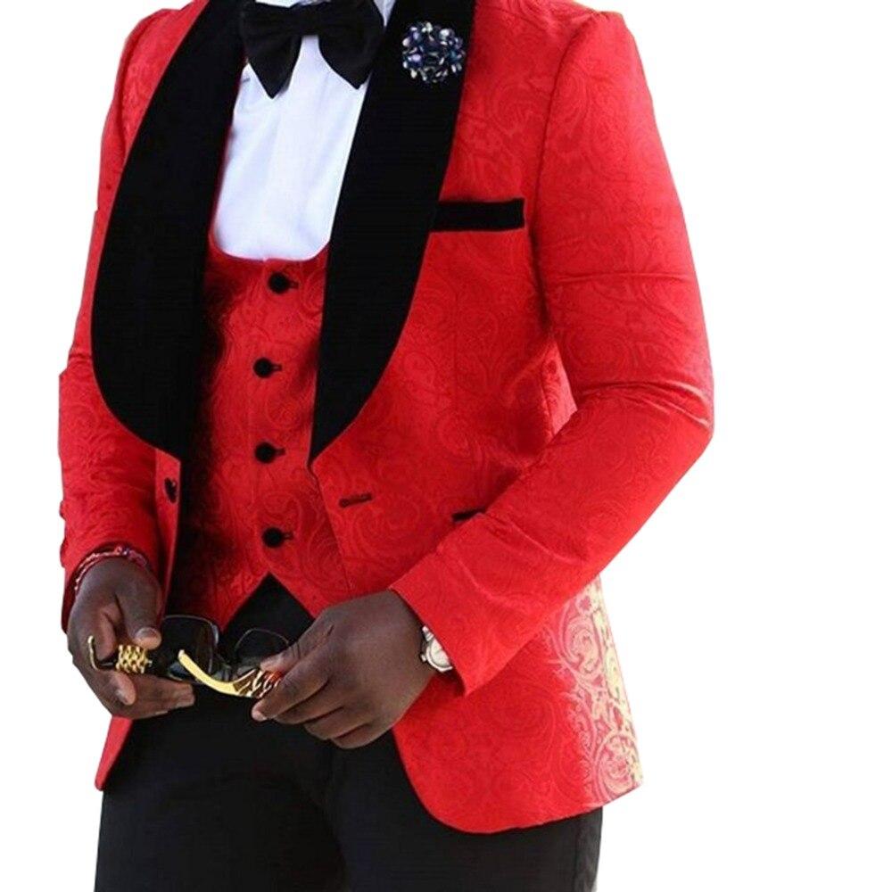 2019 nouveau costume paterné rouge pour hommes 3 pièces formel châle revers smoking hommes d'honneur pour mariage (Blazer-gilet + pantalon)