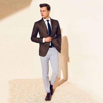 2019 latest coat pants designs brown velvet men suits elegant casual man's blazer business wedding prom male tuxedos 2 pieces