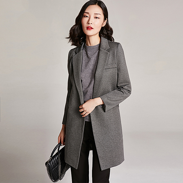 3cbfec6ceec Gray Long Blazer Long Sleeve Formal Plus Size Womens Business Suits Vintage  Mantel Damen Women Blazers And Jackets P7C1313
