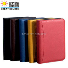 6 rings binder folder leather meeting folder with ziplock 6 rings folder bag with calculator for a6 notebook planner