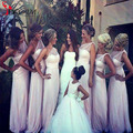 2016 Summer White One Shoulder Bridesmaid Dress Floor Length Illusion Back Bridal Maids of Honor Dress Party Gowns