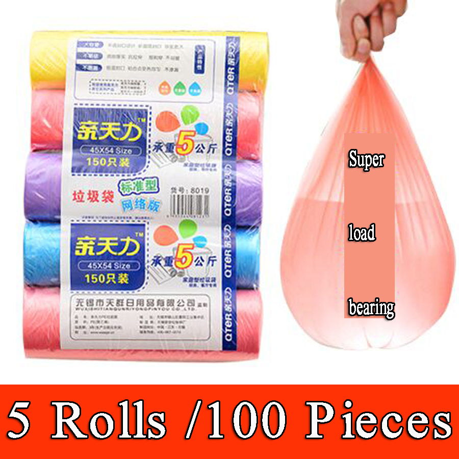 5 Rolls /100 PiecesThicken Kitchen Garbage Bag Household Points Off Trash Can Bin Rubbish Disposable Plastic Bags Color Choose