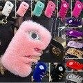 Элитная Кролик Волос Case Для Huawei Ascend P6 Huawei P7 Обложка Горный Хрусталь Bling Плюшевые Furry Fundas Розовый Мех Телефон Case + Подарок