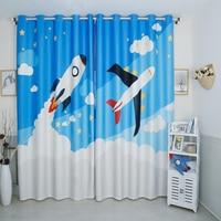 Custom Made 2x Drapery Drape Curtain Grommet Hook Window Dressing Nursery Kids Children Room 200cm x 260cm Rocket Plane Blue